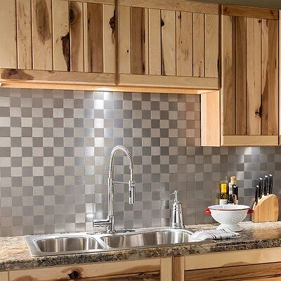 Aspect Peel and Stick Backsplash Square Matted Metal Tile (15 sq ft