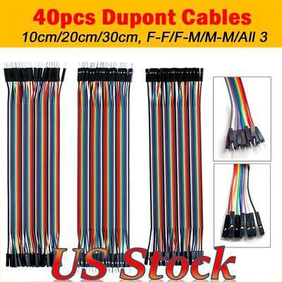 40 Pin Dupont Cables M-fm-mf-f Jumper Breadboard Wire Gpio Ribbon Pi Arduino