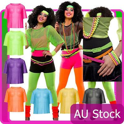 Vest Mash Top 80s Costume Net Neon Punk Rocker Fishnet T Shirt Necklace - Female Rocker Costume