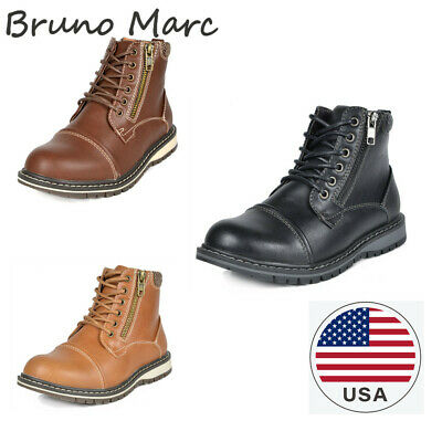 Bruno Marc Kids Boys Motorcycle Leather Chukka Boots Oxford