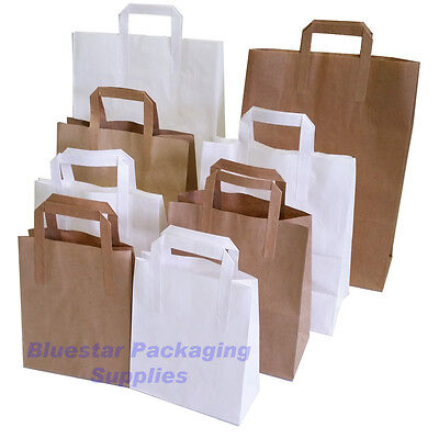 Kraft Paper Sos Carrier Bags Brown Or White With Flat Handles Takeaway Gifts