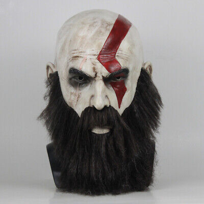 God Of War 4 Kratos Game Mask Halloween Cosplay Costume With Beard Party Props](God Of Halloween)