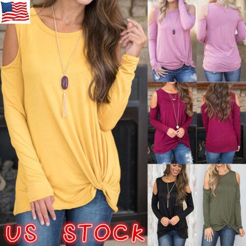 US Womens Cold Shoulder Pearls Long Sleeve Tops Blouse Ladie
