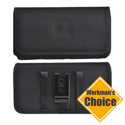 Belt Clip Carrier - For Samsung Pouch Horizontal Canvas Universal Belt Clip Phone Case Carrier Black