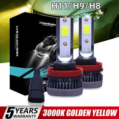 2X Mini H8 H9 H11 LED Headlight Bulb Conversion Kit 3000K High Low Beam Fog Bulb