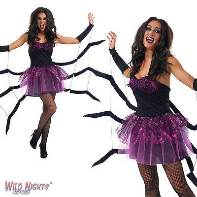 Halloween Black Widow Spider Ladies Fancy Dress Costume Size - Black Widow Spider Halloween Costume