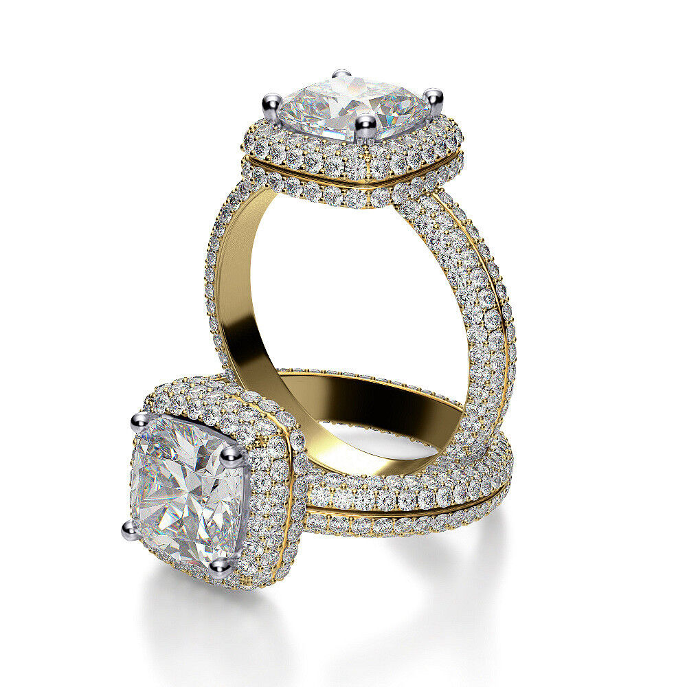 3.00ct Opulent Natural Halo Micro Pave Eternity Diamond Engagement Ring - GIA 1
