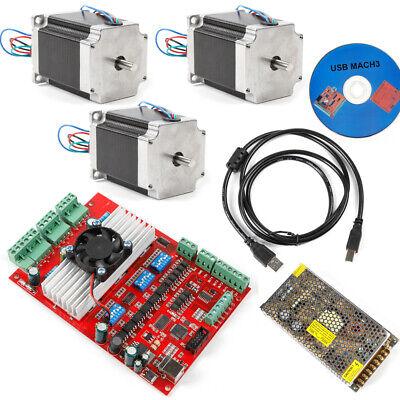 Cnc 3-axis Stepper Motor Usb Driver Board Nema23 Motor 1.8nm Controller Kit Cd