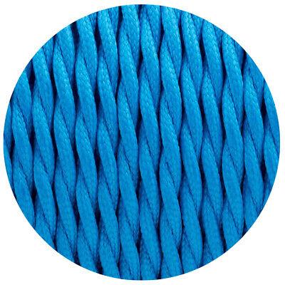 3 Núcleo Retorcido Azul Vintage Eléctrico Tela Cable Flex 0.75mm