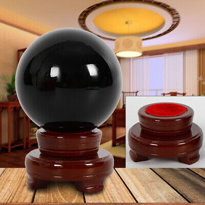 - 100mm Large Natural Black Obsidian Sphere Crystal Ball Healing w/Stand Base USA