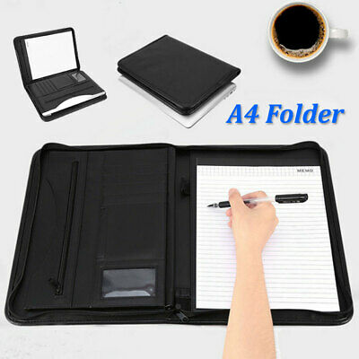 A4 Portfolio Faux Leather Zippered Conference Document Folder for Business