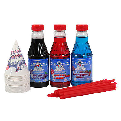 Great Northern Popcorn 3 Flavor Party Pack Snow Cone Shaved Ice Syrup -pint