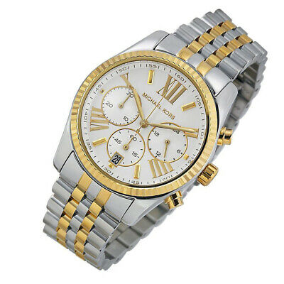 100% New Michael Kors Lexington Silver Two Tone Women's 38mm Case Watch (Case Two Tone Watch)