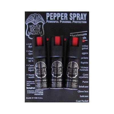 3 Pack POLICE Magnum PEPPER Spray 1/2oz OC-17 Safety lock UV Dye Self Defense