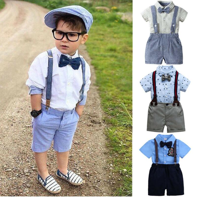 2PCS Toddler Kids Baby Boy Outfit Set Clothes Shirt+Shorts P