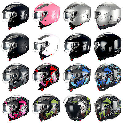 1STORM MOTORCYCLE OPEN FACE HELMET 3/4 SCOOTER BIKE BOOSTER DOUBLE/DUAL LENS DOT ()