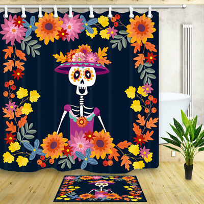 Mexican Day of the Dead Shower Curtain Bathroom Fabric & 12hooks 71 x 71 inches