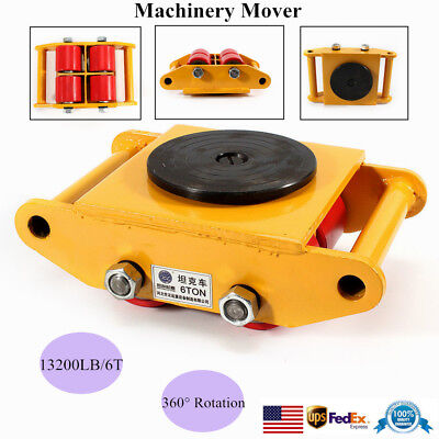 13200lb 6t Machinery Mover Roller Dolly Skate W360 Swivel Top Plate 4-rollers