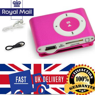 Pink Practical Mini USB Clip MP3 Player 16GB Micro SD Card LCD Music Media UK