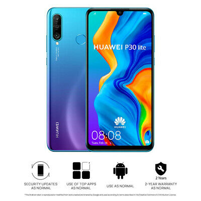 "New Huawei P30 Lite Peacock Blue 128GB 6.15"" 4GB LTE Android 9.0 Sim Free UK"