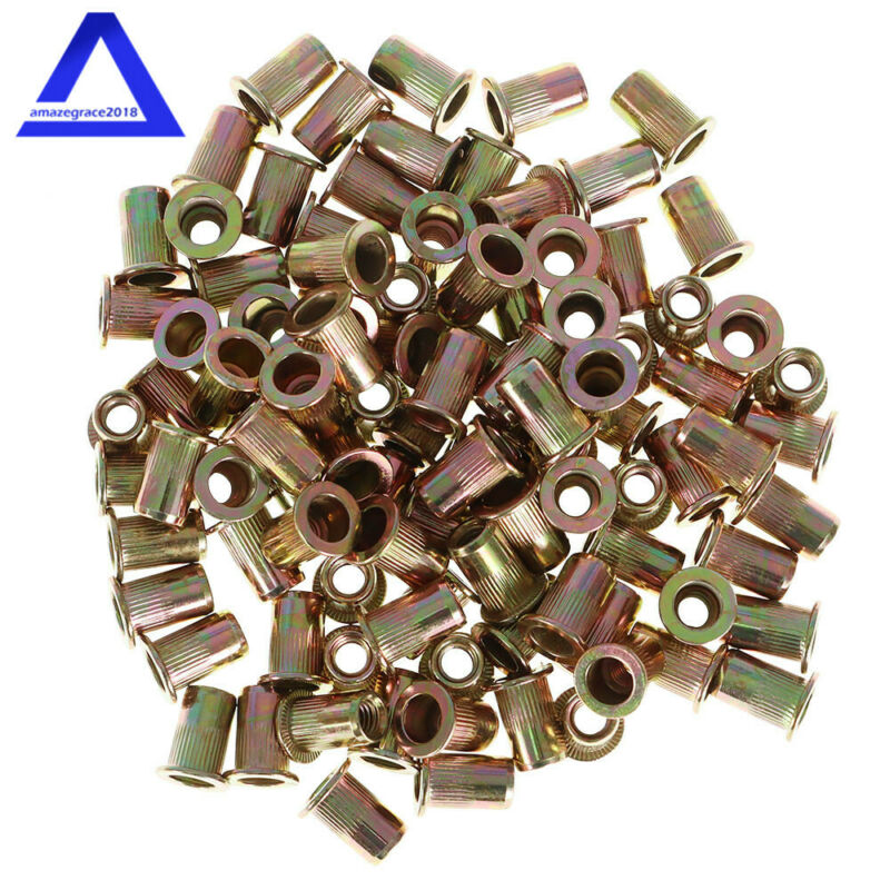 100 Pcs M6 Metric Carbon Steel Rivet Nut Flat Head Threaded Insert Nutsert