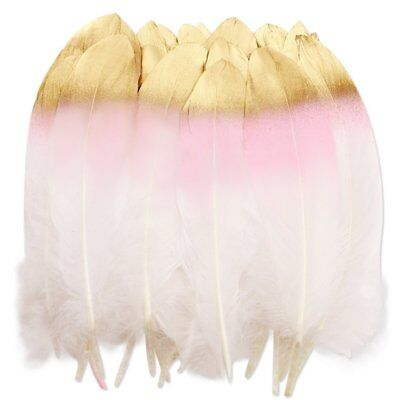 36pcs White Feathers ,Pink and Gold Dipped Natural Craft For Wedding - Feather Decorations