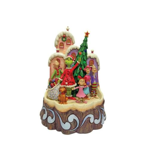 Jim Shore GRINCH LIGHTED CARVED BY HEART Figurine 6008890 MAX CINDY-LOU 2021