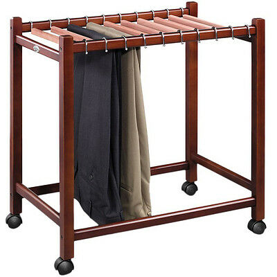 Wooden Rolling Pant Rack Trolley Closet Organizer Compact Trouser Slack Jean USA