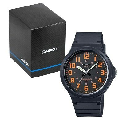 Casio Men's Quartz Watch with Orange Dial and Black Resin Strap MW-240-4BVEF