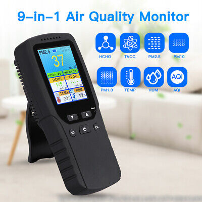 9 in 1 Air Quality Monitor Tester for Formaldehyde AQI Date/Time PM2.5 Detector