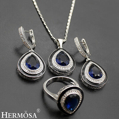 sterling sets 925 silver royal sapphire necklace
