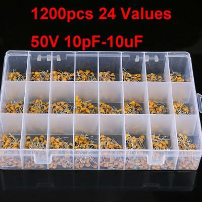 1200pcs 24 Values 50v 10pf-10uf Ceramic Capacitors Assortment Kit With Box