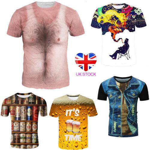 Summer Casual Slim Fit T-Shirt Men 3D Print Short Sleeve Tops Graphic Tee Shirts