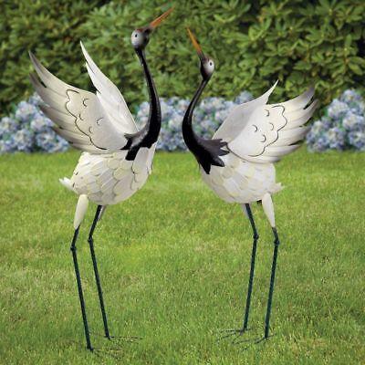 Metal Crane Out Door Sculpture 2 Pack Garden Lawn Statue Patio Bird Yard Decor