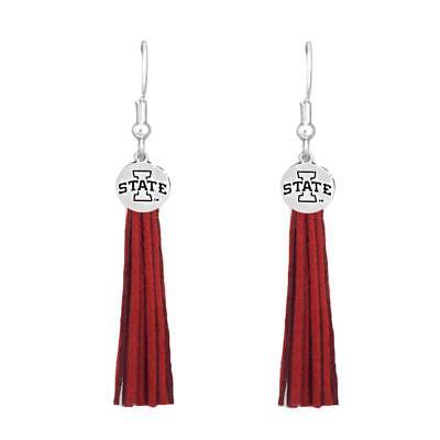 - Iowa State Cyclones Red Leather Tassel Silver Charm Earring Jewelry Gift ISU
