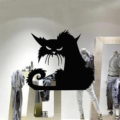 Best Halloween Wall Decorations (Best Qualtiy lack Cat Wall Sticker Decal Vinyl Happy Halloween Home)