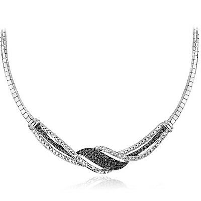 0.25 Ct Diamond Necklace (0.25ct Natural Diamond Twist Frontal Necklace in Silver or Gold Plated Brass )