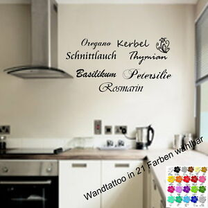 wandtattoo f r die k che kr uter rosmarin petersilie wandsticker wanddeko ebay. Black Bedroom Furniture Sets. Home Design Ideas
