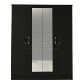 Beatrice 4 door mirrored wardrobe black finish