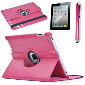 Rose-360-Rotate-For-the-New-iPad-4-generation-ipad3-2-Leather-Smart-Case-Cover