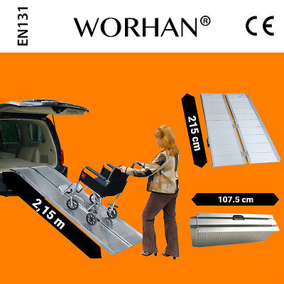 WORHAN® 2.15m Rampa Plegable Silla de Ruedas Discapacitado Movilidad Aluminio R7