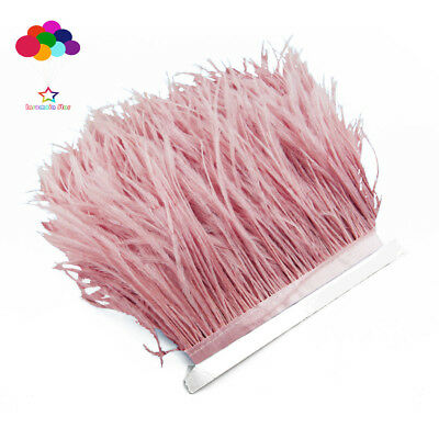 Pink Ostrich Feathers - 1/5/10 meter Leather pink Ostrich Feathers 8-15 cm/3-6 inch Fringe Ribbon Trim