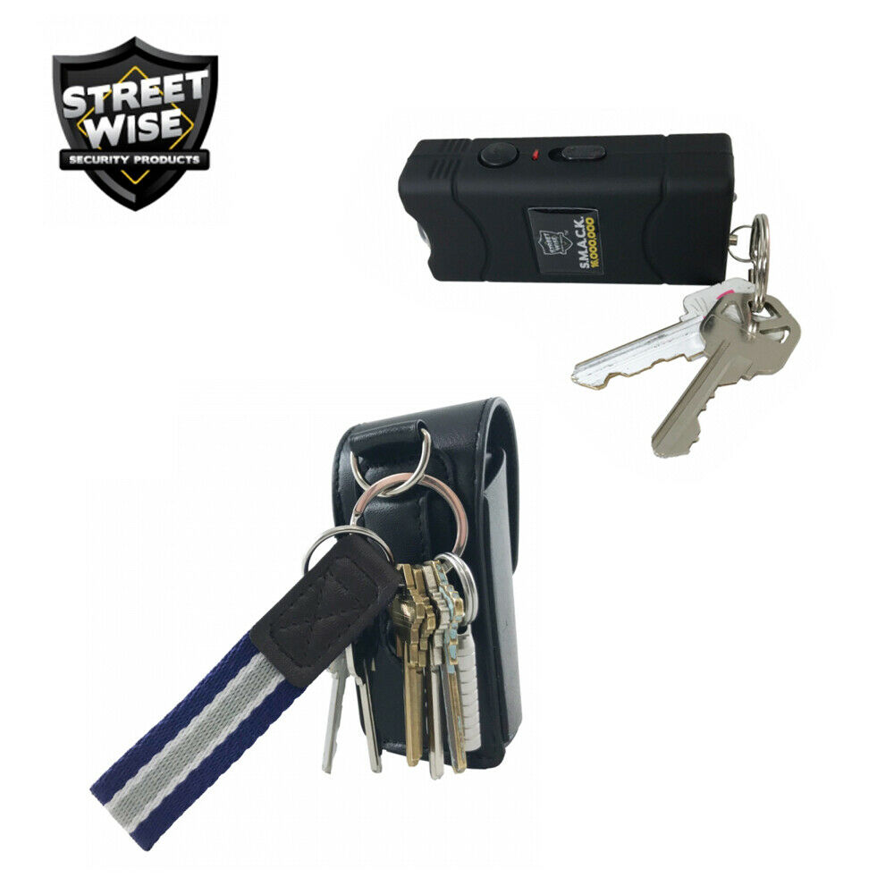 Streetwise MINI STUN GUN Flashlight Police PEPPER SPRAY Bundle SMACK 16M Black - $18.85