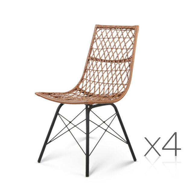 4 x Sung Natural Colour PE Wicker Dining Chairs | Dining ...