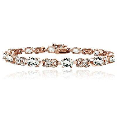 Rose Gold Tone 7.15ct White Topaz & Diamond Accent X & Oval Bracelet