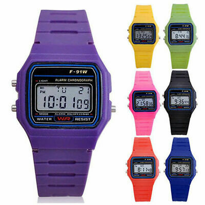 F-91w Men Women LCD Digital Wristwatch Sport Alarm Watch Rubber Strap Wristwatch