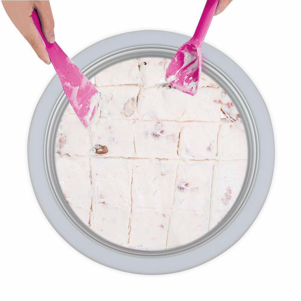 Nonelectronic Instant Ice Cream Maker Ice Roll Pan Machine Frozen Yogurt wMold