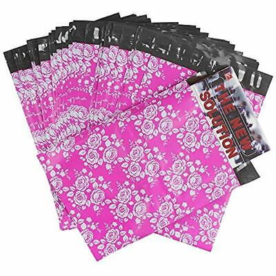 100 9x12 Poly Mailer Envelopes Shipping Bags Of Pinkwhite Rose Design With Self