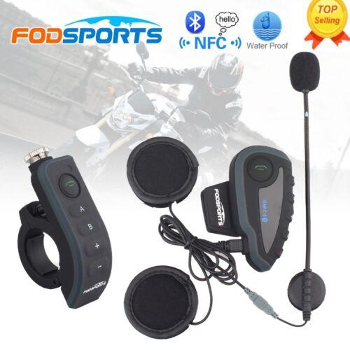 Fodsports V8 1200m Motorcycle Bluetooth Full Duplex Intercom Headset NFC Auto FM