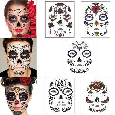 Halloween Temporary Face Art Waterproof Mask Sugar Skull Tattoo Beauty Sticker - Masquerade Mask Face Stickers